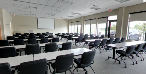 View of Full Conference Room Set Classroom Style